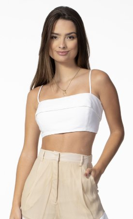 Top Cropped Linho Estruturado Off White Open
