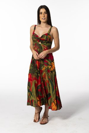 Vestido Midi Estampado São Tomé Farm