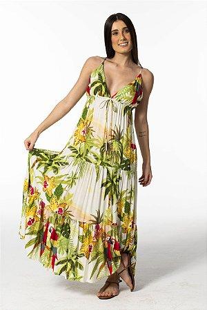 Vestido Longo Estampado Banho de Sol Farm