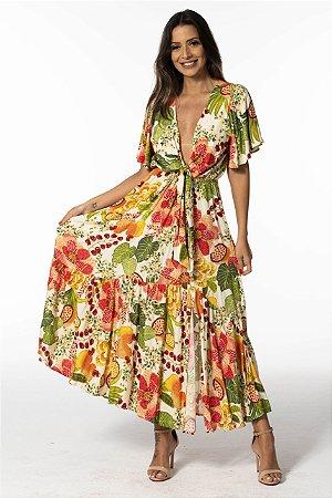 Vestido Cropped Estampado Floral Frutado Farm
