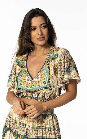 Blusa Cropped Estampada Abacaxi de Ouro Farm