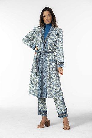 Kimono Alongado Estampado Amazônia Oriental Azul Farm