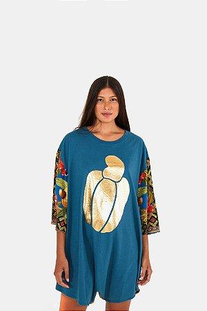 Macaquinho com Silk Estampado Caju Lenço Azul Farm