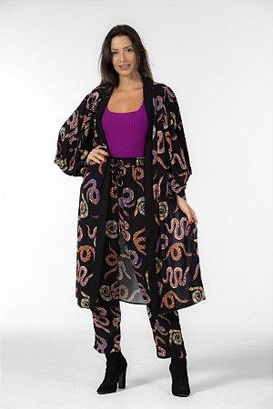 Kimono Alongado Estampado Cobras Coloridas Farm