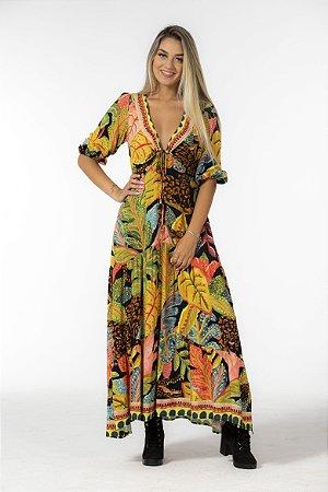 Vestido Cropped Estampado Sonho de Floresta Farm