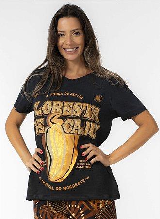 T-shirt Estampa Floresta de Caju Preta Farm