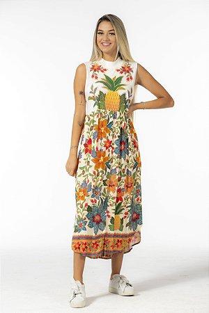 Vestido Midi Estampado Silk Abacaxi Flor de Arara Farm