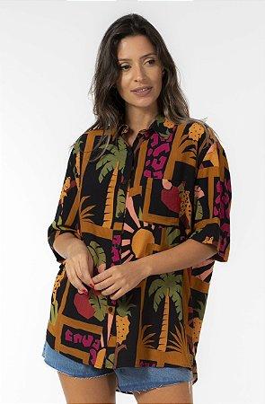 Camisa Manga Curta Uni Estampada Colagem Tropical Farm