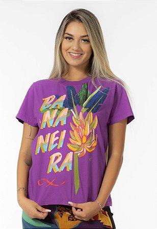 T-shirt Fit Estampada Bananeira Roxo Camu Farm