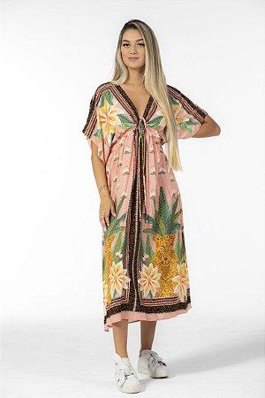 Vestido Cropped Estampado Lenço Amazônia Rosa Sapucaia Farm