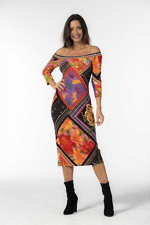 Vestido Midi Tubinho Estampado Misturinha de Lenços Farm