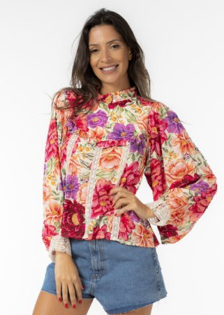 Blusa Estampada Flor de Menina Farm