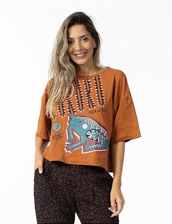 T-shirt Cropped Estampada Sapo Cururu Bege Doce de Leite Farm
