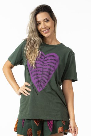 Blusa T-shirt Feminina Estampada Media Costela Tipografica Verde Farm