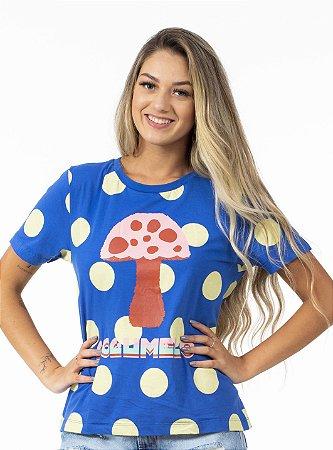 Blusa T-shirt Feminina Estampada Silk Cogumelo Poá Farm