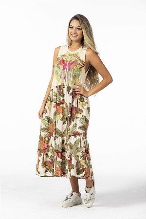 Vestido Cropped Estampado Silk Brasil Artesenal Farm