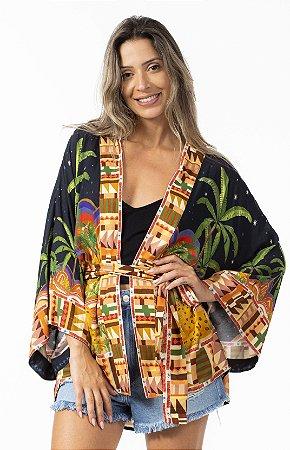 Kimono Estampado Passeio das Onças Farm