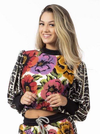 Blusa Moletom Cropped Estampada Antuerpia Farm