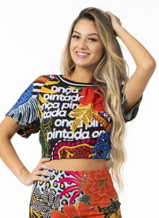 T-shirt Cropped Estampada Mix Selvagem Farm