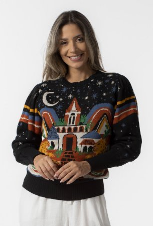 Blusa Sweater Tricot Feminino Manga Bufante Estampado Passeio das Onças Farm
