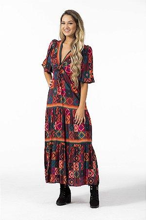 Vestido Cropped Estampado Mosaíco Farm
