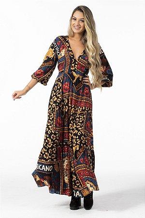 Vestido Cropped Longo Estampado Mistura de Lenço Farm