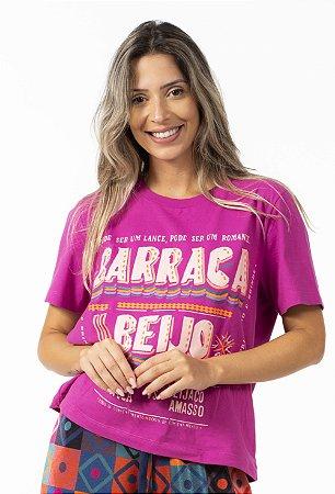Blusa T-shirt Feminina Estampada Barraca do Beijo Rosa Alvorada