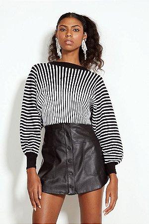 Blusa Cropped Tricot Estampado Listrado Preto e Branco Open