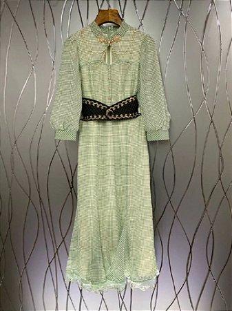 Vestido midi xadrez verdinho cinturão