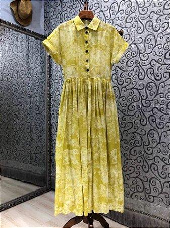 Vestido midi gola virada estampado amarelo