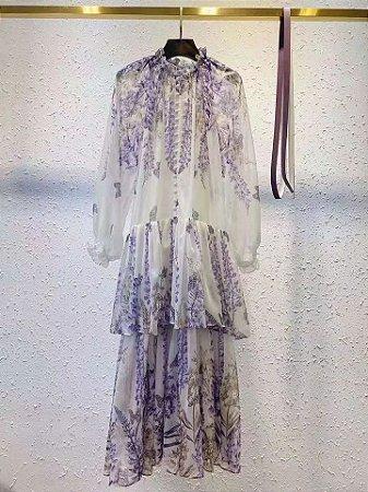 Vestido Midi Floral Lavanda Saia Camadas