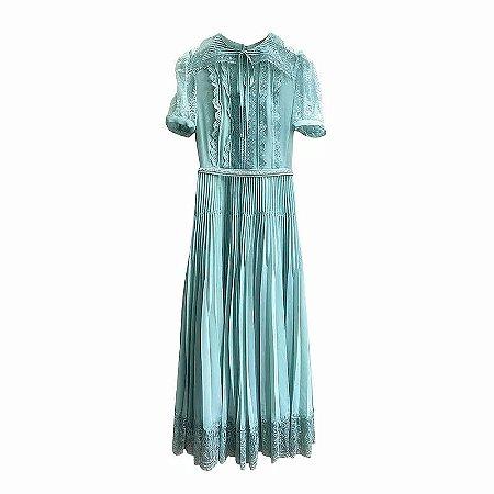 vestido midi vintage azul rendado gola virada