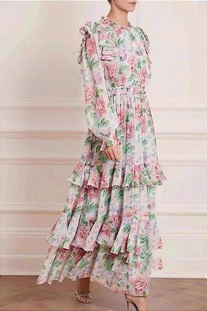 Vestido longo floral saia camadas manga longa bufante