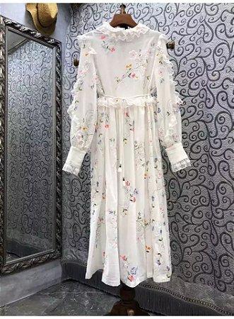 Vestido midi floral vintage manga longa renda cintura
