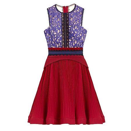 Vestido color block saia plissada blusa renda