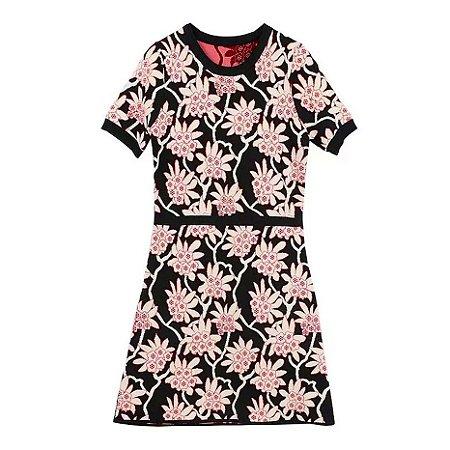 Vestido mini tricot floral manguinha
