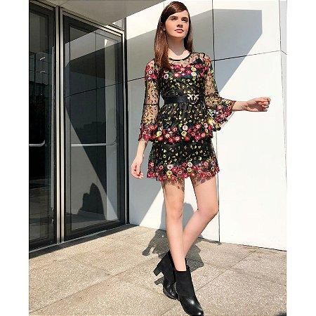 cc97ec5d13 Vestido tule bordado paetês saia babado - Black Birds Fashion Store