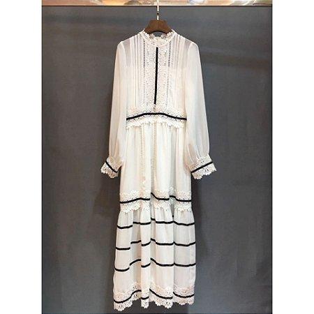 bbd732657 Vestido mini vintage branco e preto camisola - Black Birds Fashion Store
