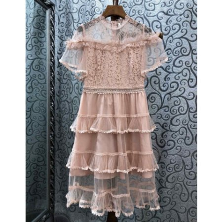 a2b7f0335 Vestido rosa vintage saia babados poá manguinha - Black Birds ...