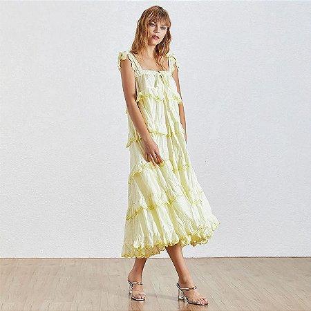 Vestido midi algodão trapézio amarelo babados