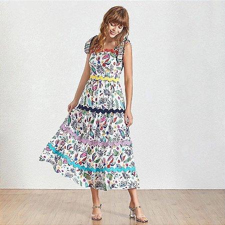 Vestido midi estampa colorida alça amarração