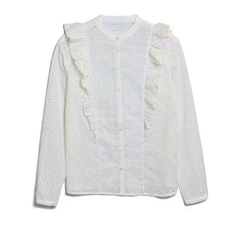 Camisa vintage laise babados manga longa