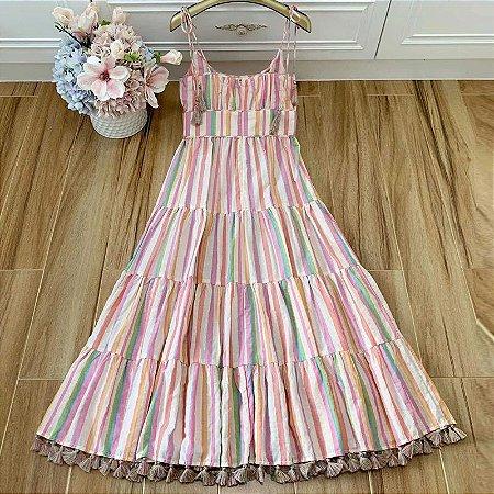 Vestido midi stripes alcinha amarração