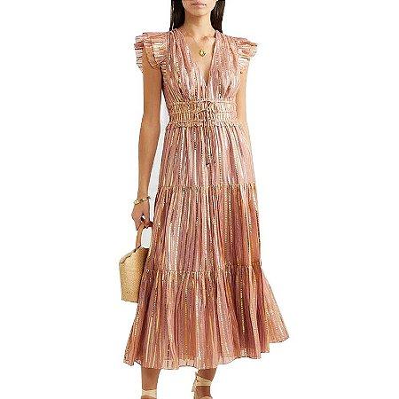 Vestido midi rosa velho listras douradas