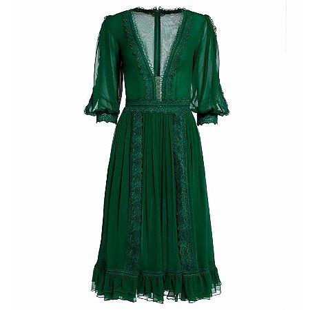 Vestido crepe e renda verde bandeira decote V