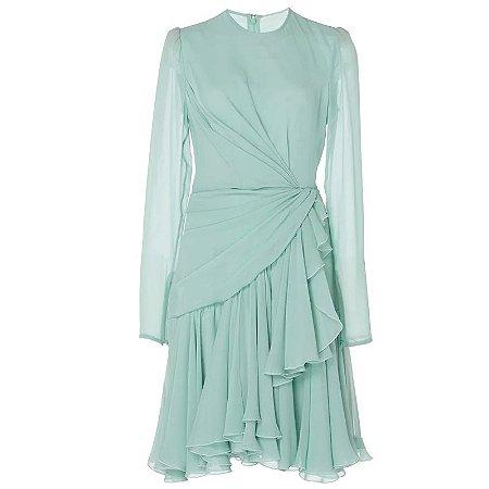 Vestido verde água manga longa detalhe lateral