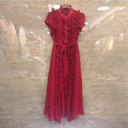 Vestido crepe vermelho babados