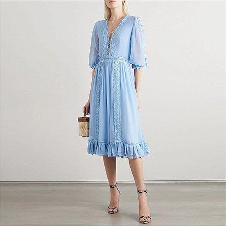 Vestido azul crepe manga bufante decote V vintage