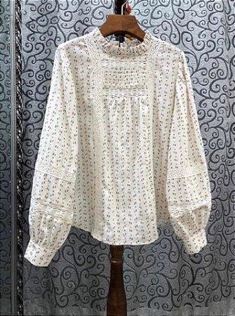 Camisa vintage florzinha manga bufante