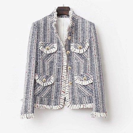 Casaco tweed azul franjas